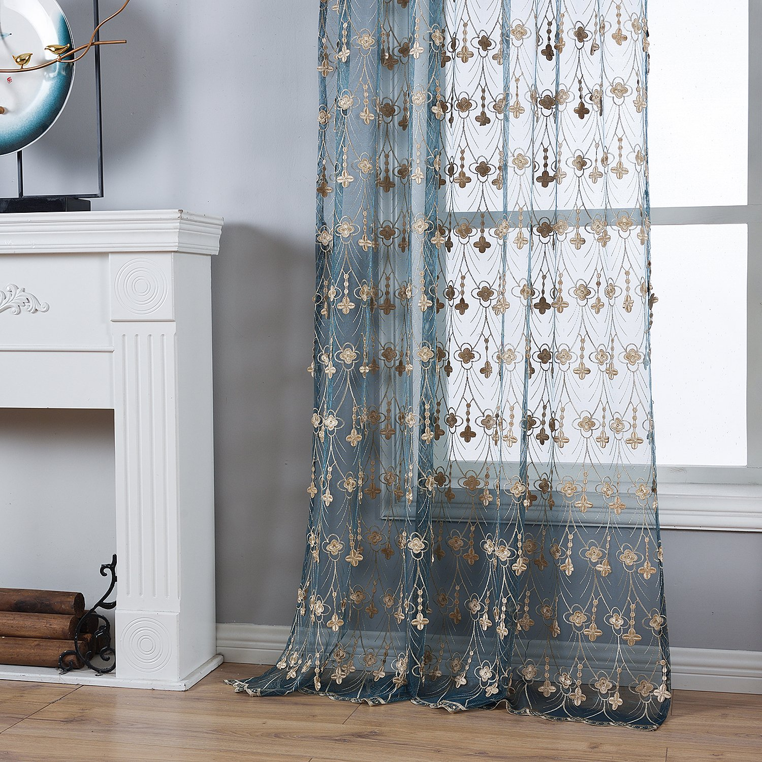 Elegant Cartoon Kids Room Dragonfly Pattern Embroidery Sheer Curtain Window Treatment Rod Pocket Panel Voile Draperies for Living Room Bedroom Dining Room 1 Panel, W 50 x L 63 inch, White