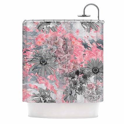 KESS InHouse Zara Martina Mansen QuotFloral Blushquot Pink Gray Shower Curtain
