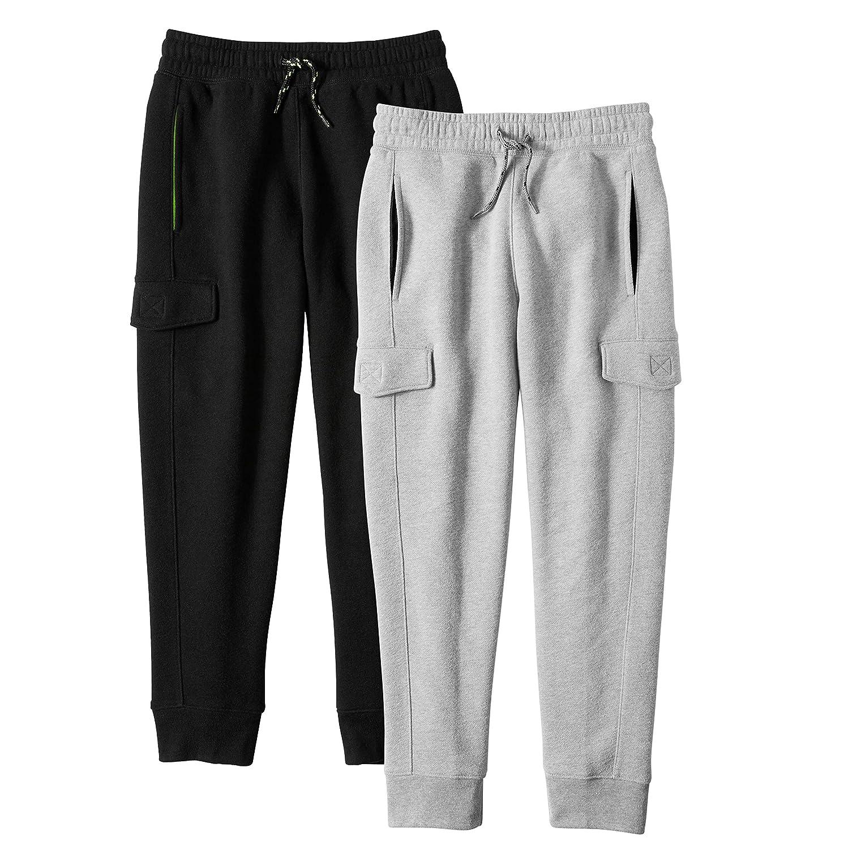 Alkii Boys 2-Pack Ultra Soft Fleece Cargo Jogger Pants with Pockets