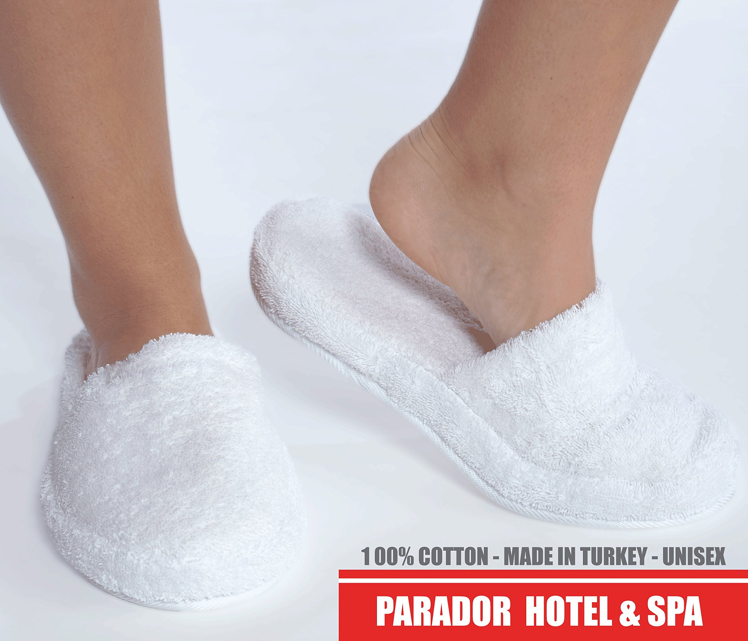 Turkishtowels Luxury 100% Cotton Terry Spa Slippers in White - Large