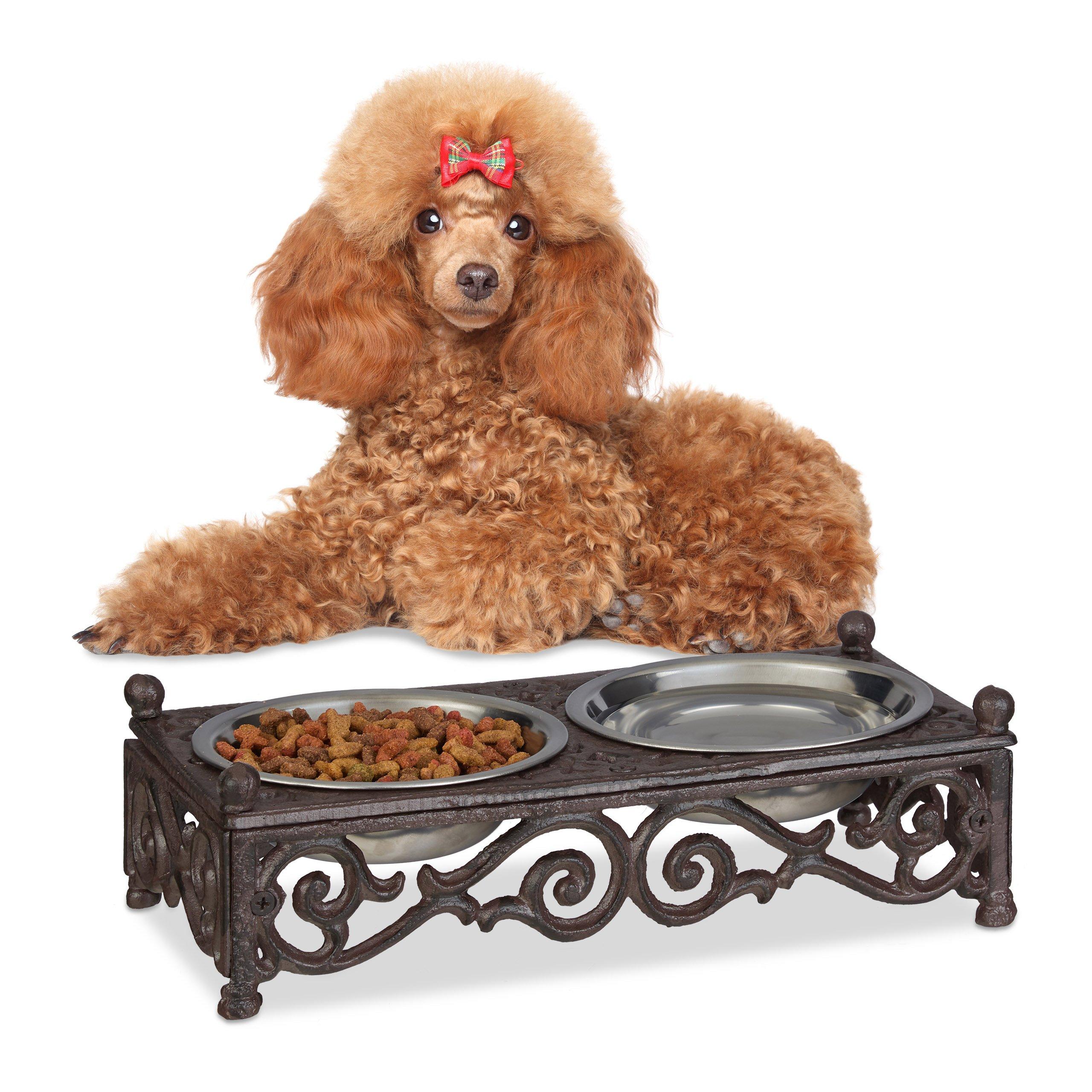 Relaxdays Dog Bowl Set, Brown, 9 x 29.5 x 14.5 cm