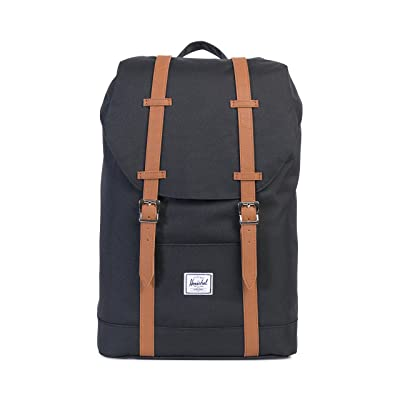 Herschel Supply Co. Retreat Mid-Volume Backpack, Black/Tan Synthetic Leather