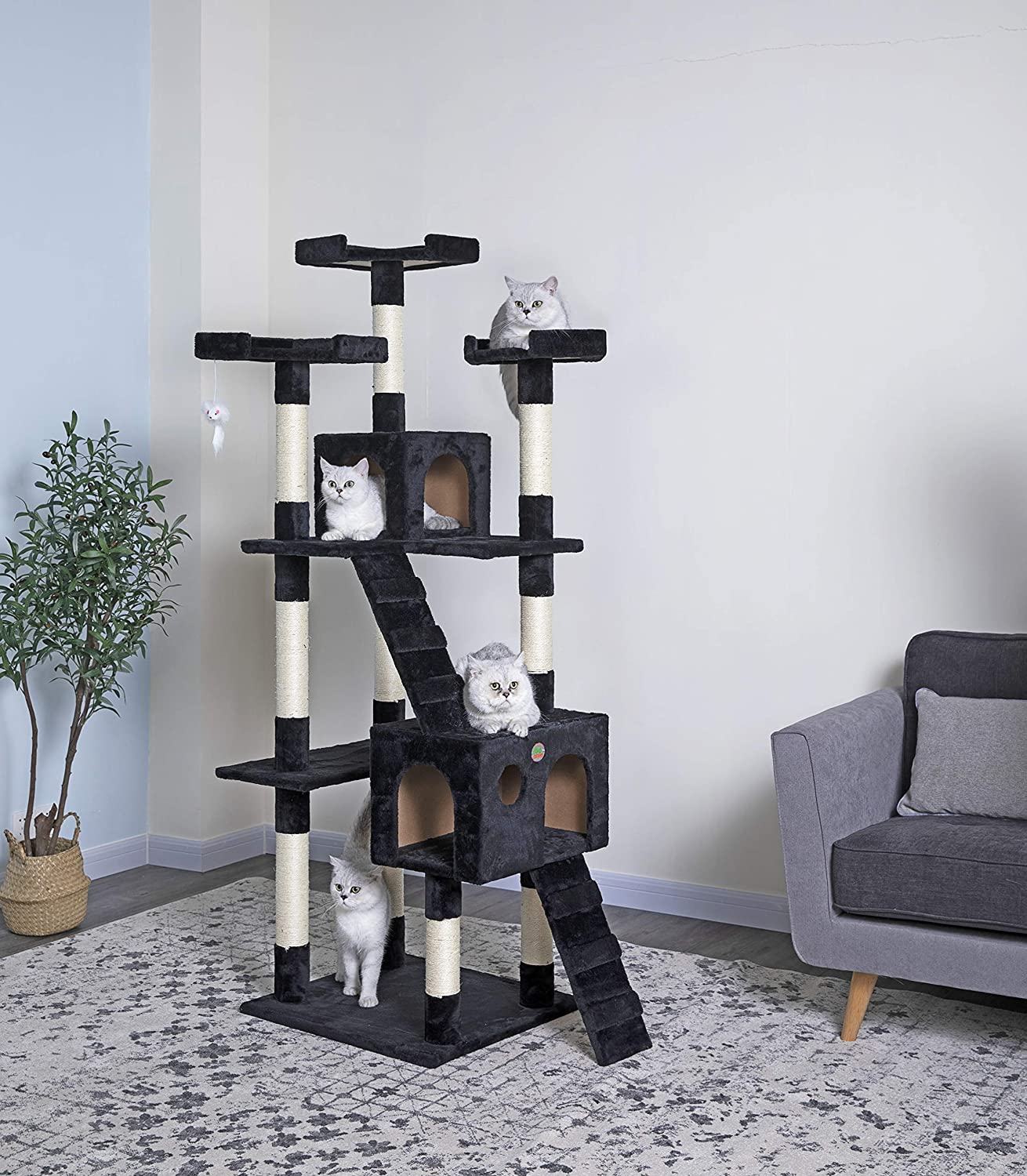 Go Pet Club Cat Tree, 33-Inch by 22-Inch by 72-Inch, Black : Cat Condo : Pet Supplies
