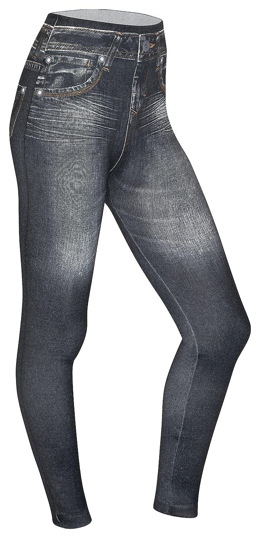 Piarini Damen Jeggings k/örperbetont Blau Schwarz Treggings mit Skinny Schnitt Winter Denim-Leggings warmer Innenfleece