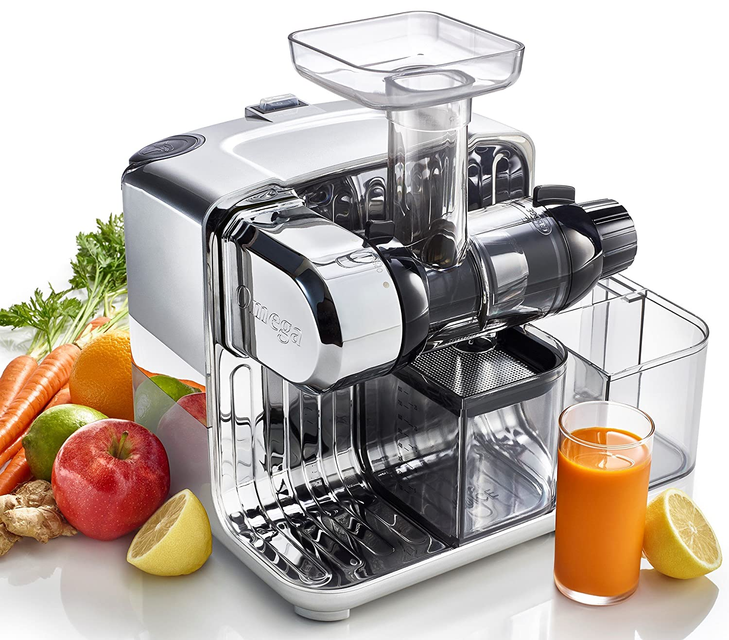 Omega CUBE300S Cube Nutrition Center Juicer Creates Fruit Vegetable and Wheatgrass Juice Slow Masticating Compact Design with Convenient Storage, 200-Watts, Silver