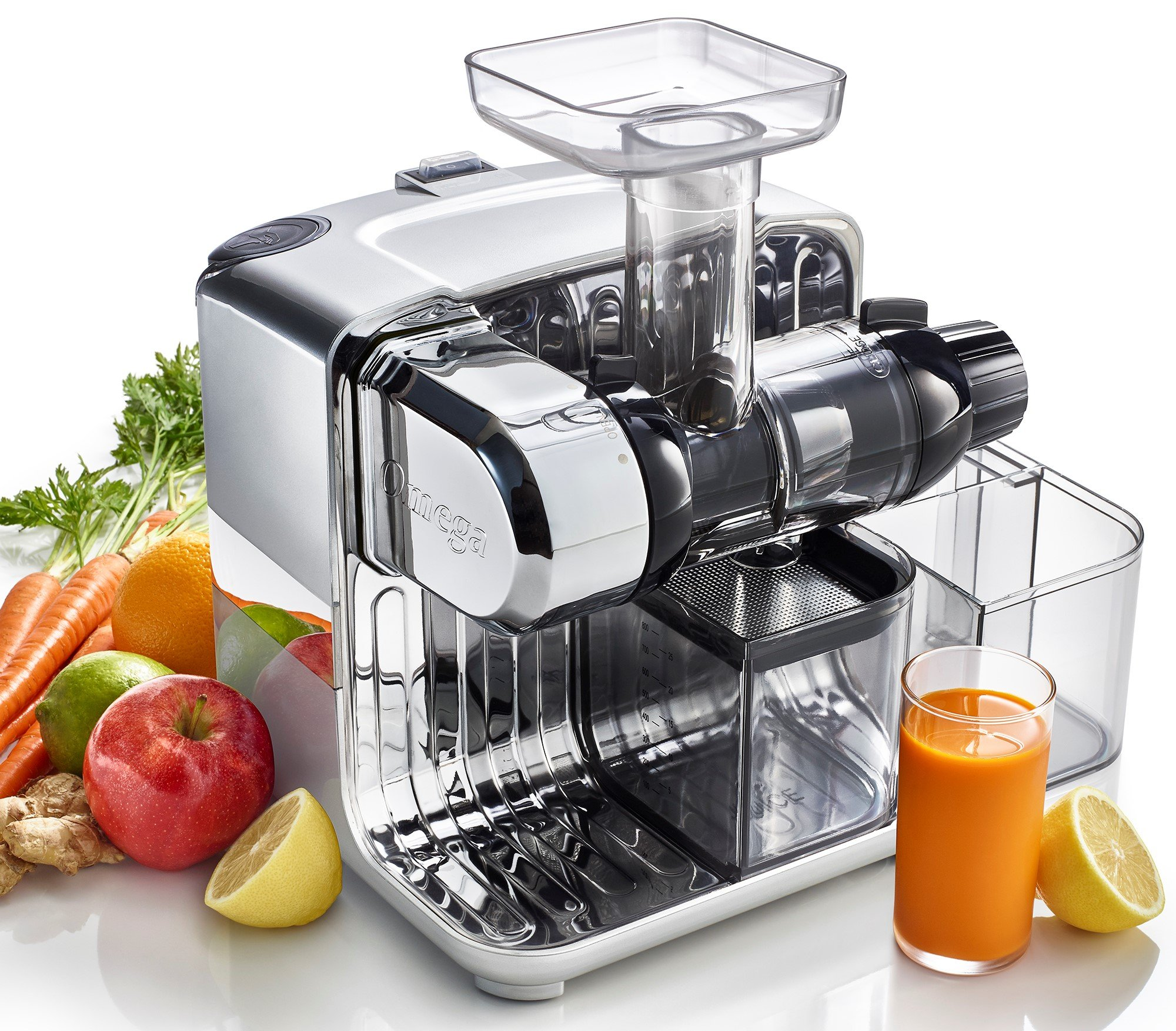 Omega CUBE300S Cube Nutrition Center Juicer Creates Fruit Vegetable and Wheatgrass Juice Slow Masticating Compact Design with Convenient, 200-Watts, Silver by Omega