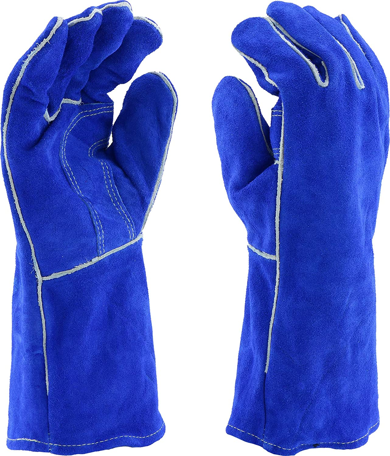 Blue Suede Cowhide Leather and Denim Large Work Gloves 10-pack