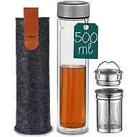 Cosumy Theefles met Roestvrij Stalen Zeefje - Dubbelwandig Glas - Hittebestendig - 500ml Drinkfles om mee te nemen incl…