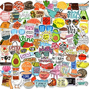 Funny Vine Stickers, 102 Pack Food Stickers Positive Words Sticker Decals for Journal, Water Bottles, Computer - Vinyl Waterproof Trendy Aesthetic Stickers for Adults