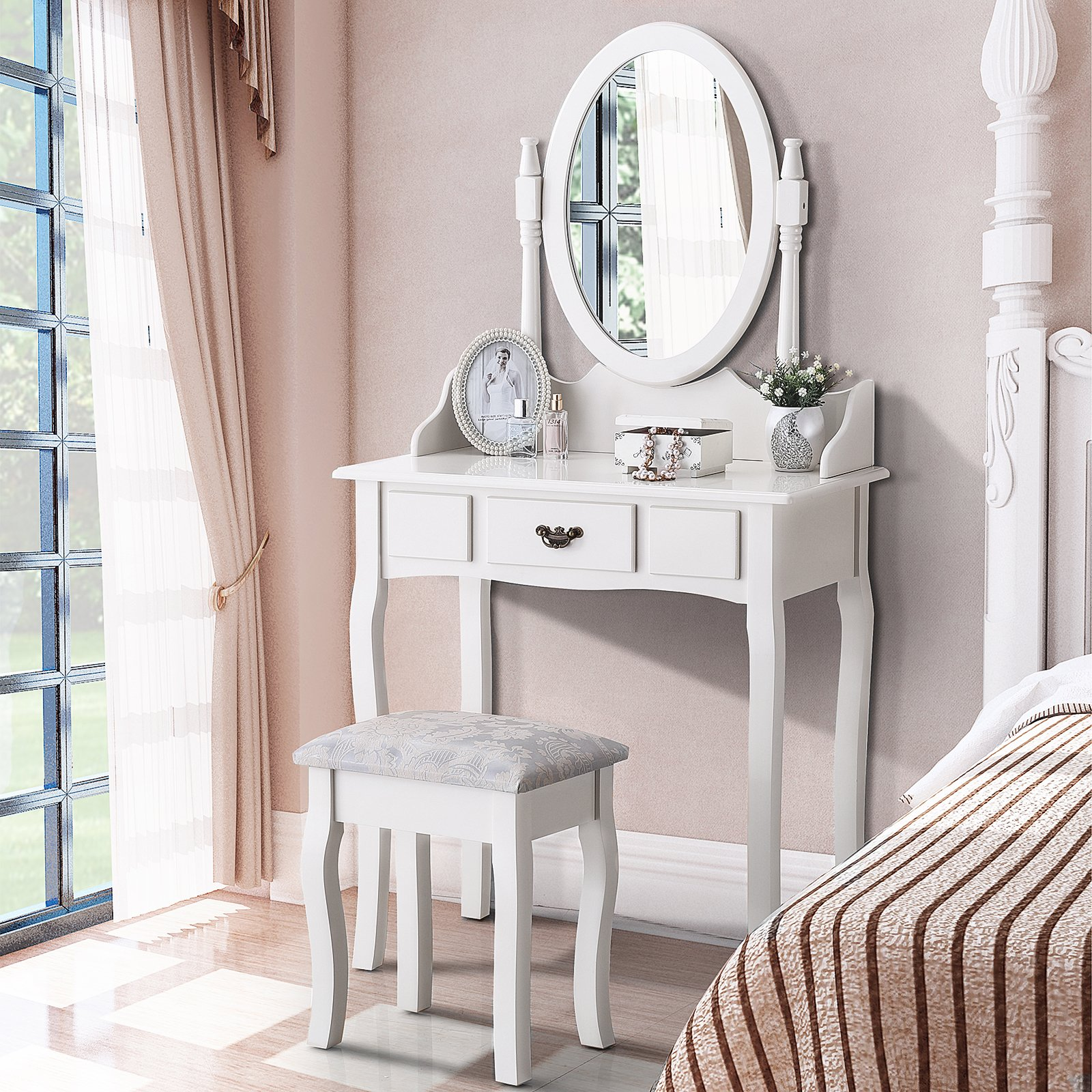 Mecor Vanity Makeup Table Set Dressing Table with Stool and Oval Mirror,White (1 Drawer)