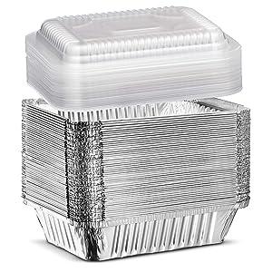 Elite Selection 2lb Aluminum Foil Pans – Reusable and Disposable Foil Pans – Stackable Foil Pans with Plastic Lids – Oven & Freezer Safe – 50 Piece Set (2LB Plastic Lids)