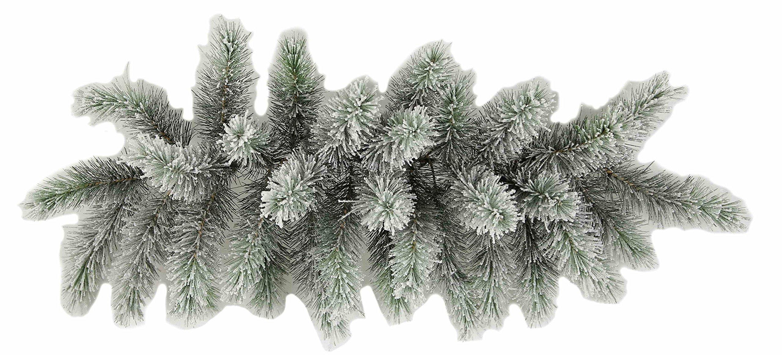 PAIR! 28''Snow Pine Flocked Swag 34 tips