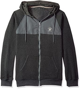 b2af82d3b Beverly Hills Polo Club Men's Full Zip Fashion Hoodie Sweatshirt with Nylon  Piecing, Charcoal Heather