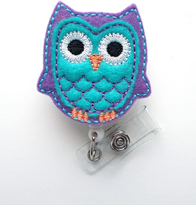 Artisan Owl Apple Glitter Retractable ID Badge Reel with Clip for Teachers and School Personnel
