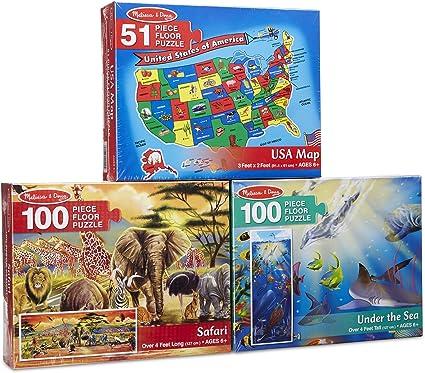 Melissa & Doug Floor Puzzle USA Map, Under The Sea, Safari Puzzle (3 Pack)