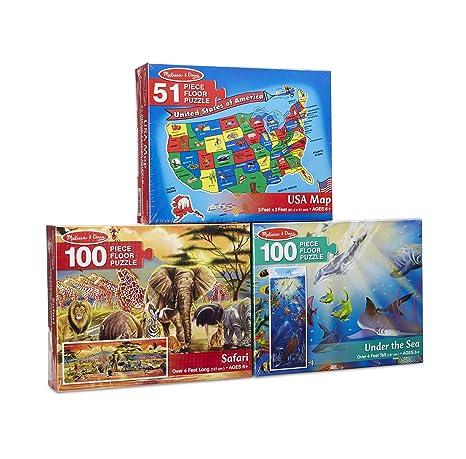 Melissa Doug Floor Puzzle Usa Map Under The Sea Safari Puzzle 3 Pack
