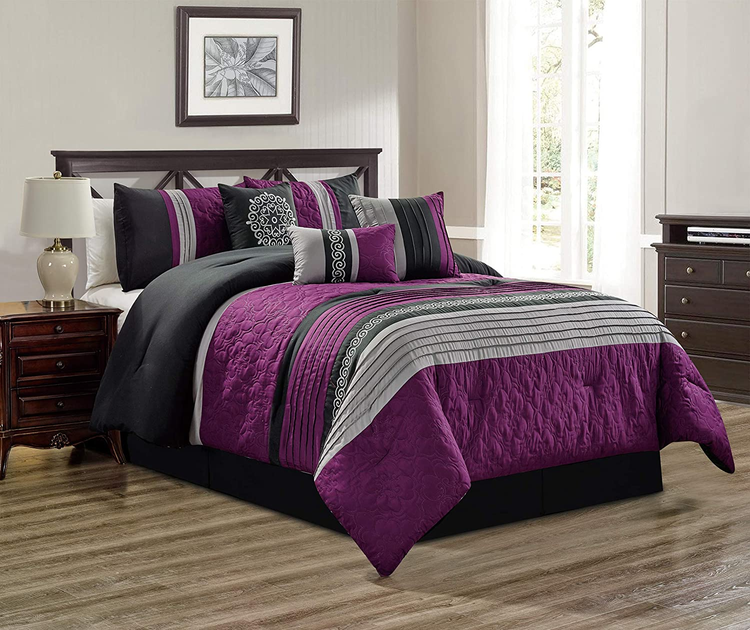 7 Piece Purple/Grey/Black/Gray Scroll Embroidery Bed in A Bag Microfiber Comforter Set (Double) Full Size Bedding. Perfect for Any Bed Room or Guest Room