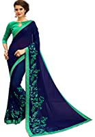 Tagline Women's Clothing Saree Collection in Multi-Colored Georgette Material For Women Party Wear With Blouse Piece