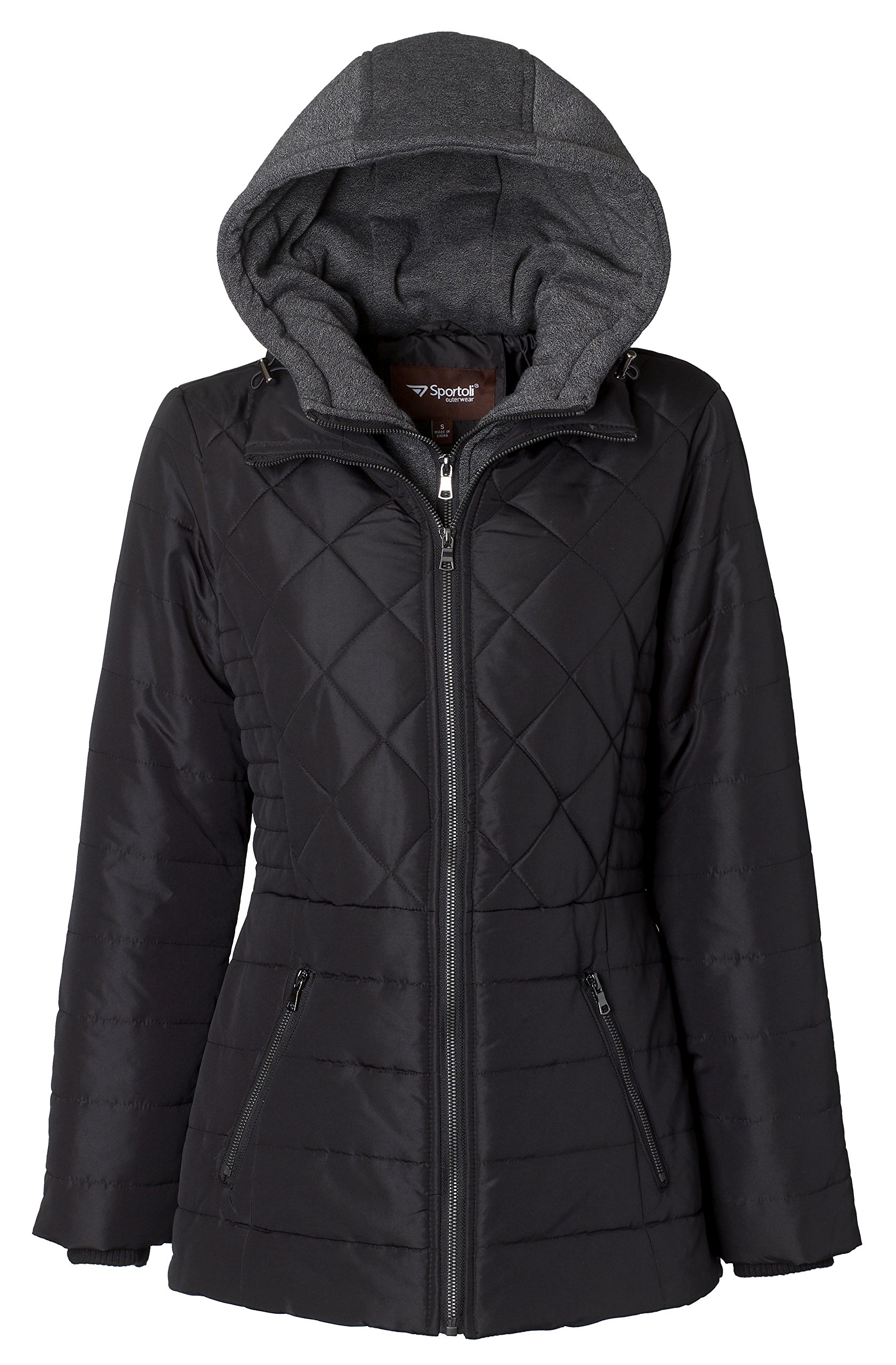Sportoli Women's Down Alternative Quilted Midlength Vestee Puffer Jacket with Fleece Hood - Black (Small)