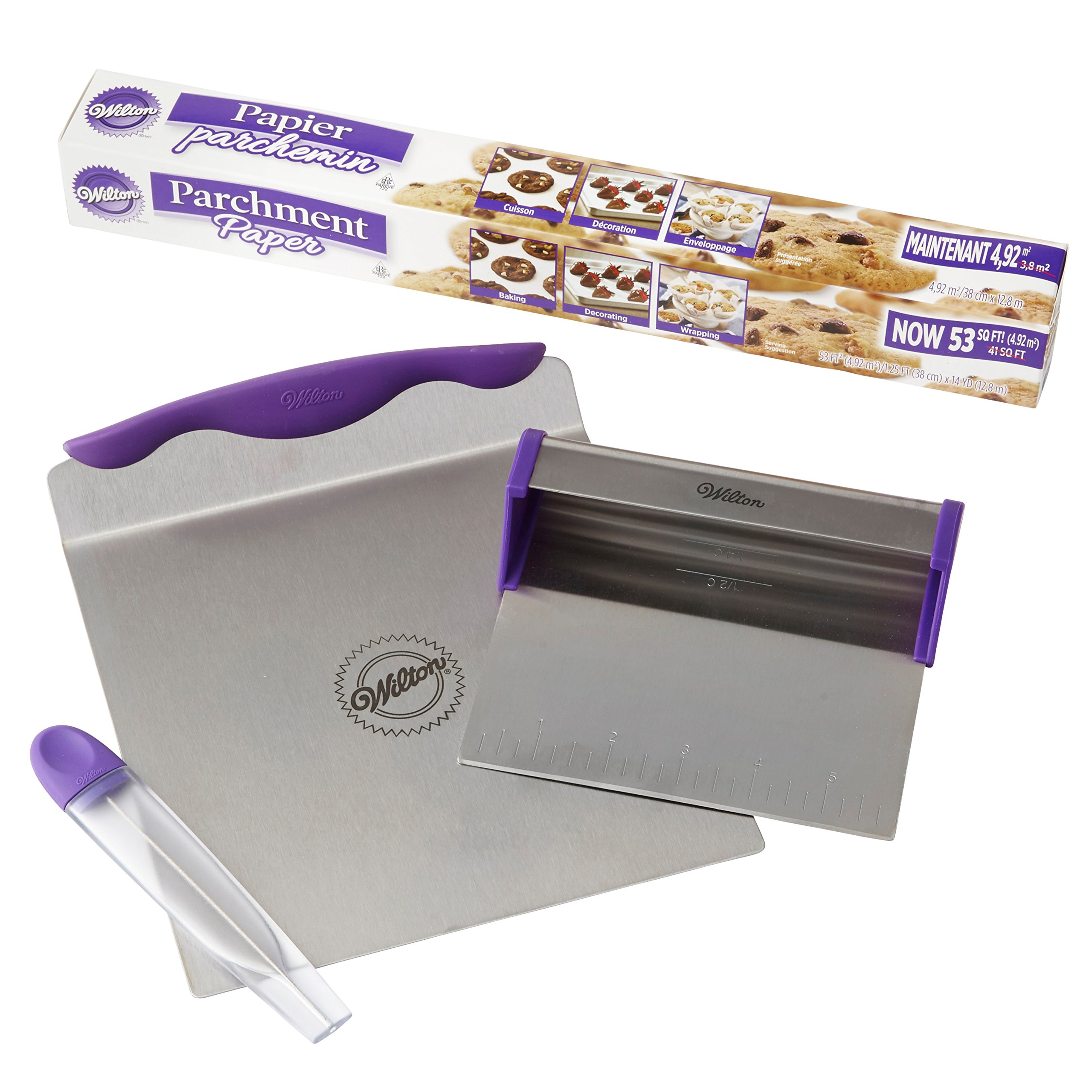 Wilton Cake Baking Tools and Parchment Paper Set - 8-inch Baker's Blade Cake Lifter, Cake Tester, 53 sq. ft. Parchment Paper