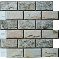 "(1) - Crystiles Peel and Stick DIY Backsplash Tile Stick-on Vinyl Wall Tile, Perfect Backsplash Idea for Kitchen n Bathroom Decor Project, Natural 3D Granite, Item 91010861, 10"" X 10"", 1 Sheet Sample"