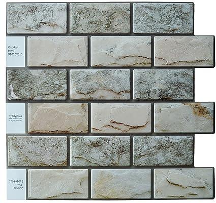 Crystiles Peel and Stick DIY Backsplash Tile Stick-on Vinyl Wall Tile,  Perfect Backsplash Idea for Kitchen n Bathroom Décor Project, Natural 3D