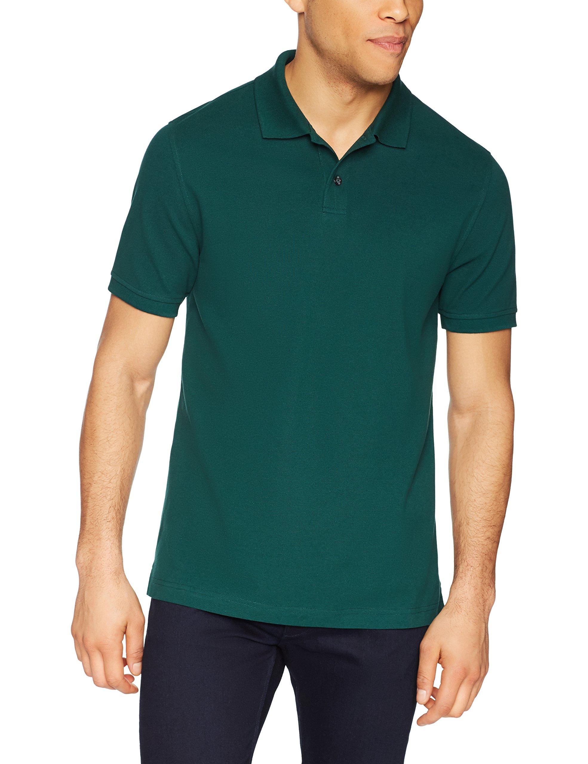 Amazon Essentials Men's Slim-Fit Cotton Pique Polo Shirt, Hunter Green, Large by Amazon Essentials (Image #3)