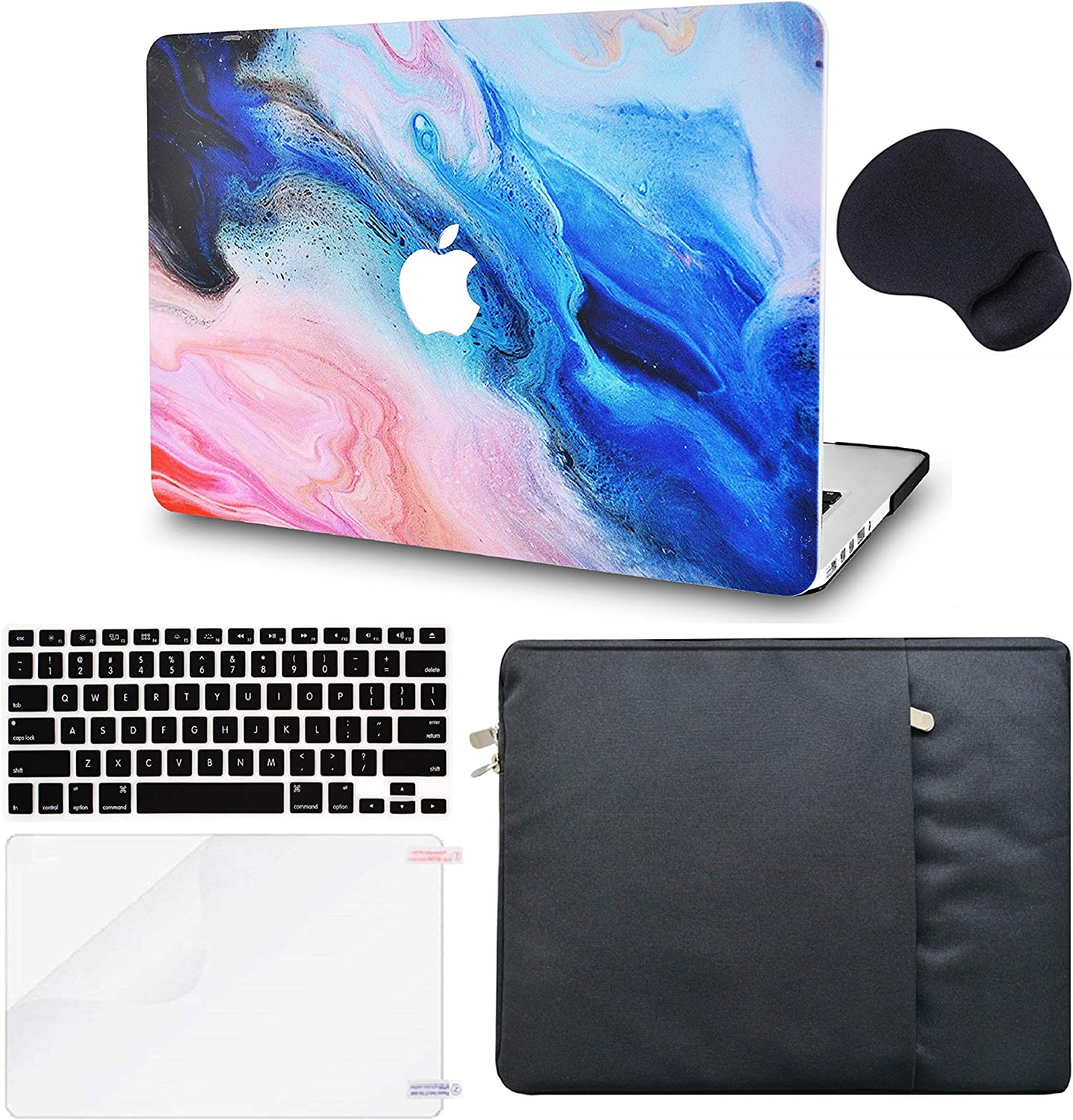 "LuvCase 5in1 Laptop Case for MacBook Pro 13""(2020) with Touch Bar A2251/A2289 Hard Shell Cover, Sleeve, Mouse Pad, Keyboard Cover and Screen Protector (Oil Paint 4)"