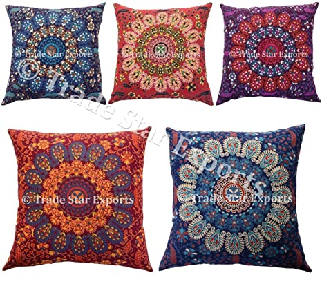 Amazon.com: 5 pcs Indian Mandala Fundas de Cojín, 18 x 18 ...