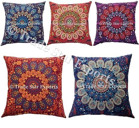 Amazon.com: 5 pcs Indian Mandala Fundas de Cojín, 18 x 18 ...
