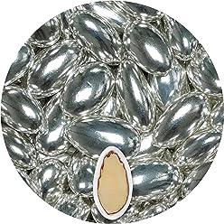 EinsSein® 500g Hochzeitsmandeln Nobile Silber metallic Glanz Gastgeschenke Hochzeit Zuckermandeln Schokomandeln Bonboniere Bonbons Schokotafeln ohne organzasäckchen Dragees Taufe Taufmandeln Schoko