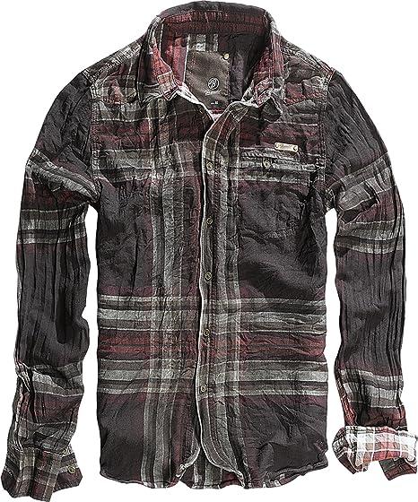 brandit camicia uomo  Brandit Raven Wire Shirt Camicia Uomo Choco della Red B 4010 Marrone ...