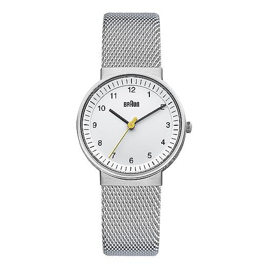 Braun BN0031WHSLMHL - Reloj análogico de cuarzo con correa de acero inoxidable para mujer, color plateado/blanco: Amazon.es: Relojes