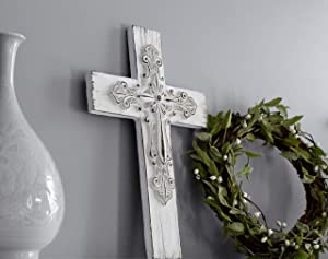 Ornate White Washed Cross to Express Sympathy for Funeral Or Memorial Comfort The Grieving for Loss of A Loved One Unique Lasting Gift