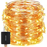LED String Lights,Oak Leaf 39.37ft 120 LED Flexible Starry Fairy Copper Lights With Power Adapter for Party Home Bedroom Wedding,Warm White