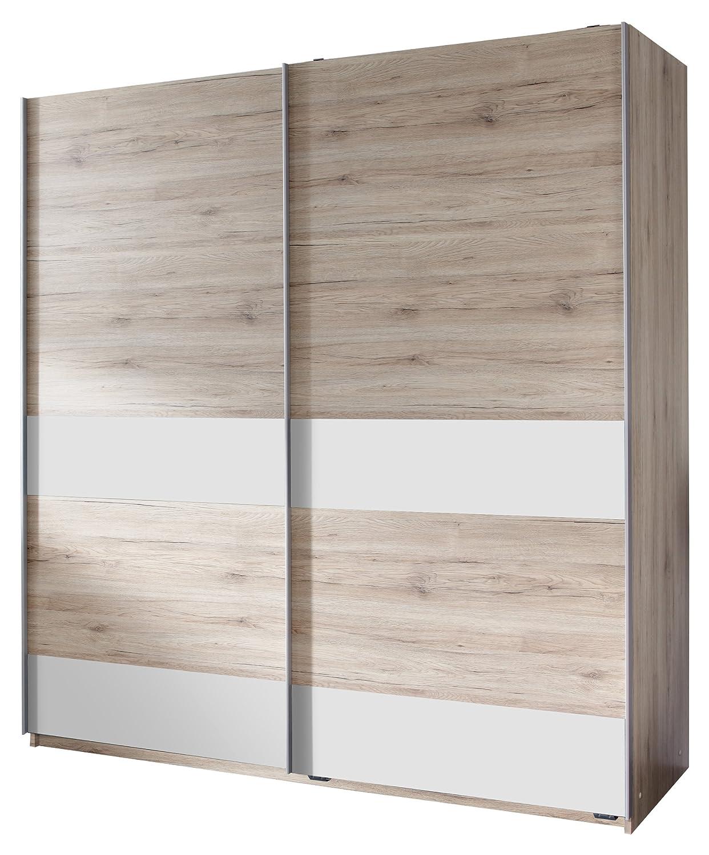Wimex 050771 Schwebetürenschrank 180 x 198 x 64 cm, San Remo Eiche Nachbildung, Absetzungen alpinweiß