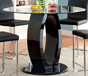 Furniture Of America Quezon Round Glass Top Pedestal Pub Table, Black