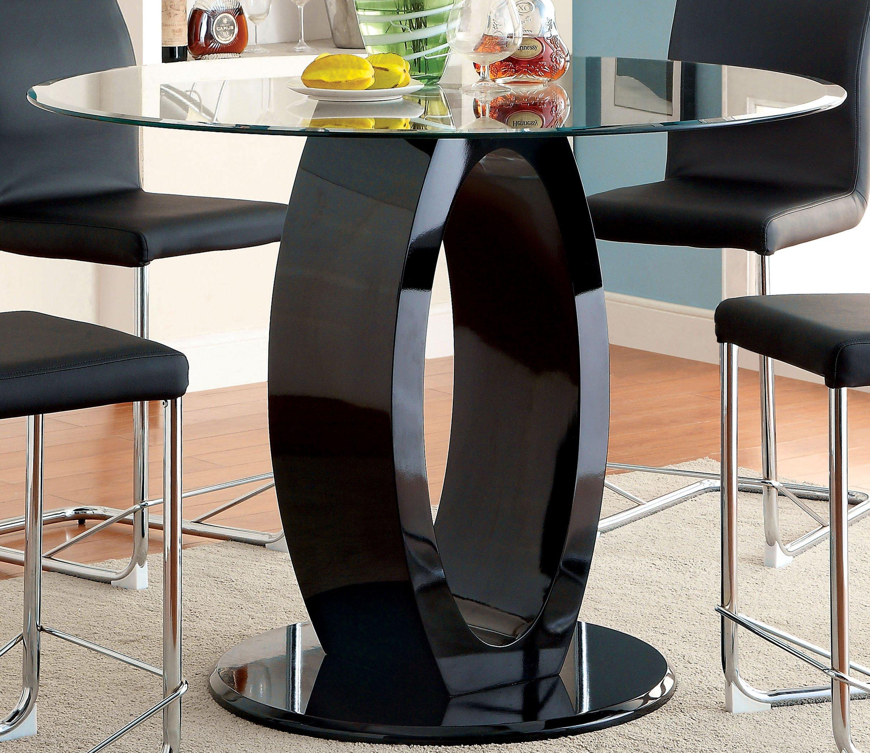 Furniture of America Quezon Round Glass Top Pedestal Pub Table, Black