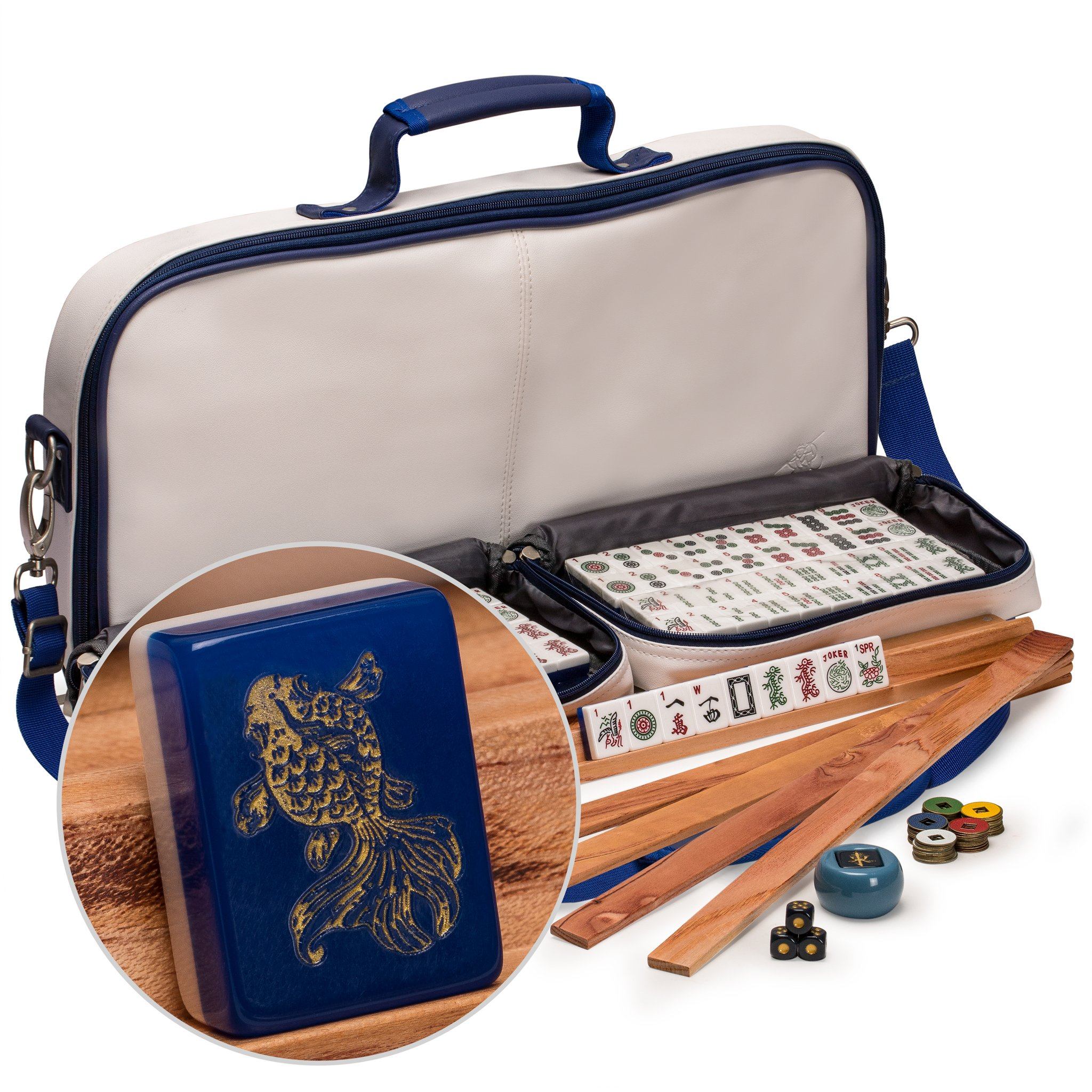 """Yellow Mountain Imports American Mahjong Set with 166 Tiles Adorned with Koi Fish Motif, Leatherette Case, Racks with Pushers, Betting Coins, Dice, and Wind Indicator, """"Koi"""""""