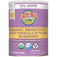 Earth's Best Organic Low Lactose Sensitivity Infant Powder Formula with Iron, Omega-3 DHA and Omega-6 ARA, 35 oz.
