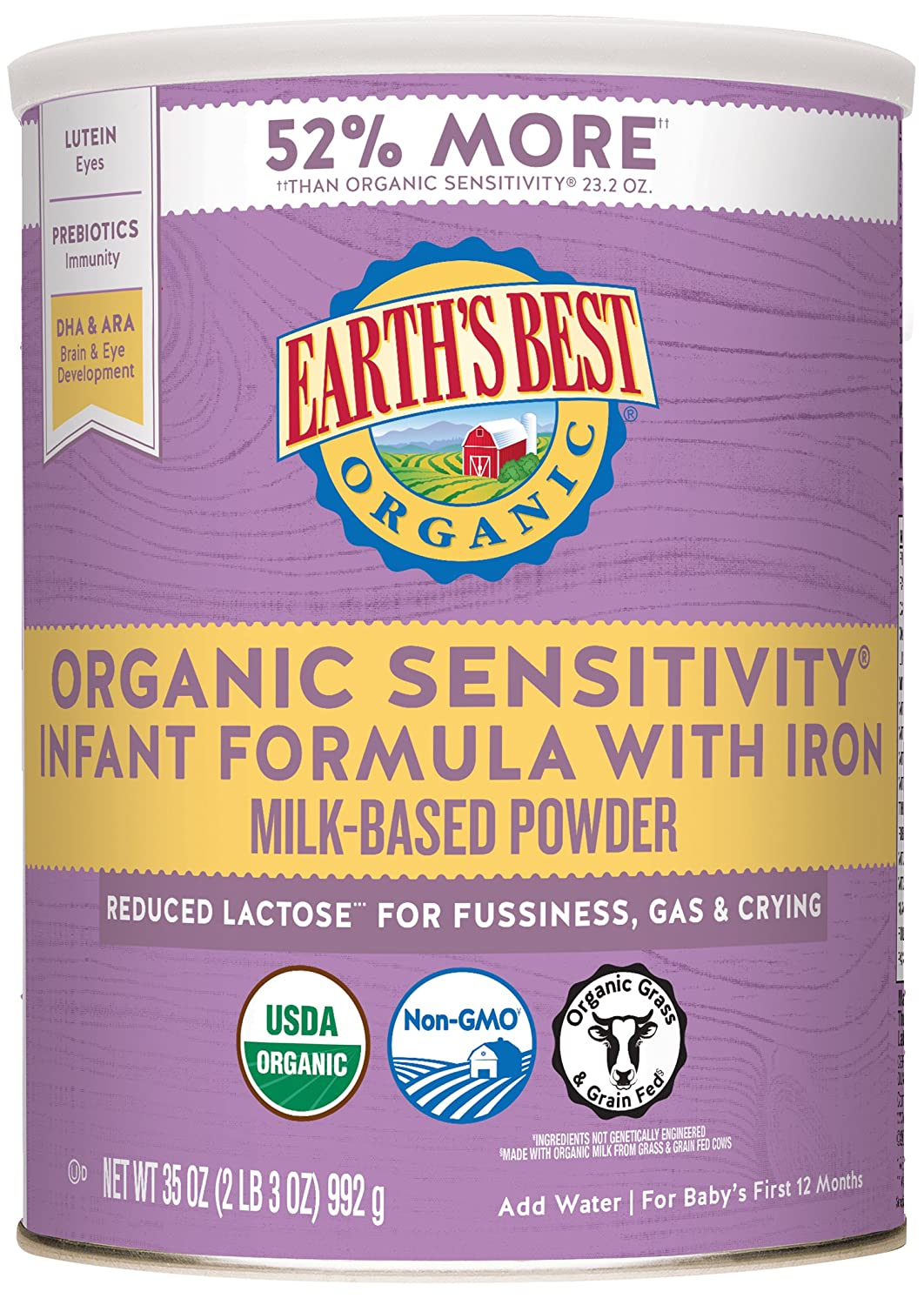 Earth's Best Organic Low Lactose Sensitivity Infant Powder Formula