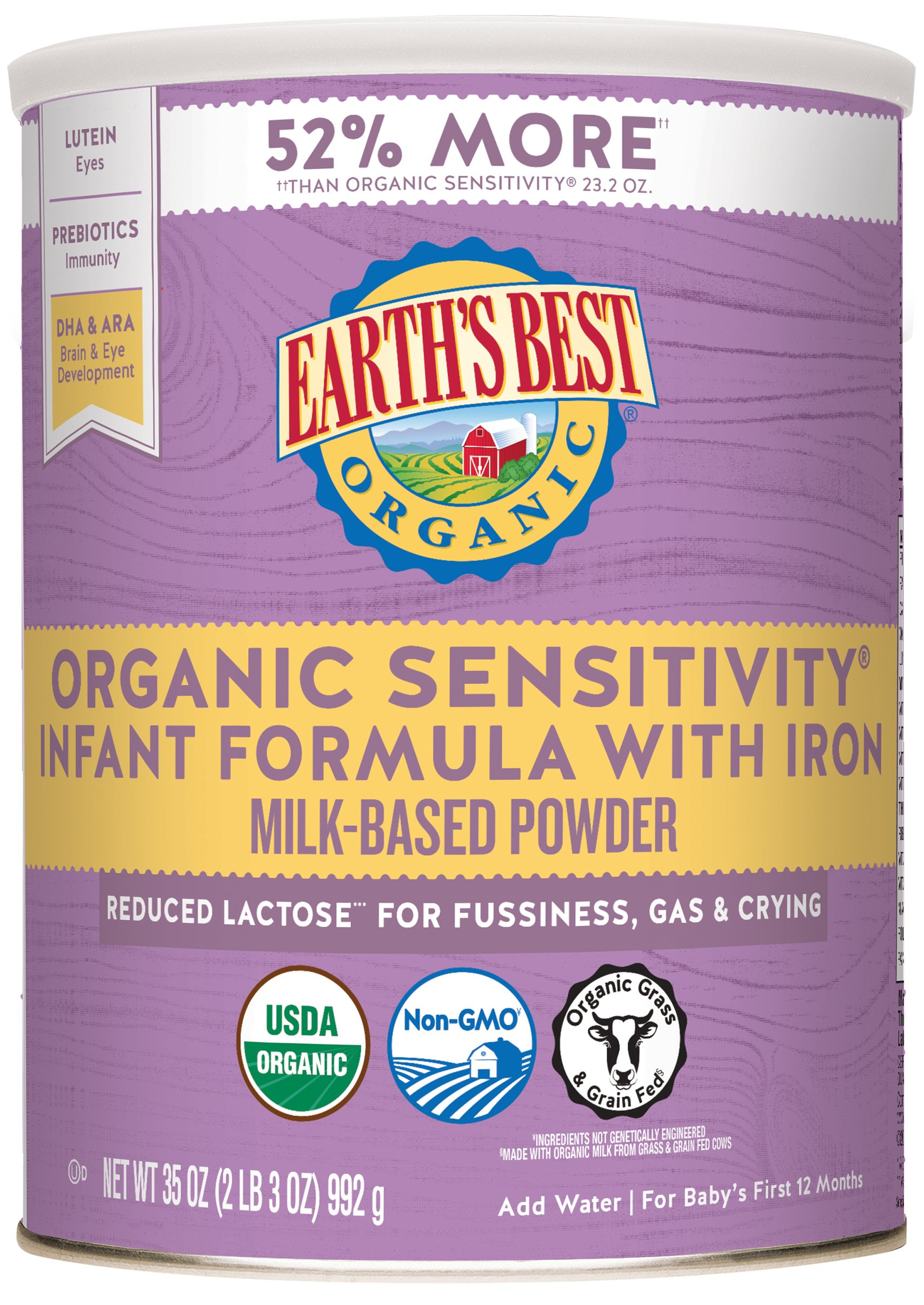 Earth's Best Organic Low Lactose Sensitivity Infant Powder Formula with Iron, Omega-3 DHA and Omega-6 ARA, 35 oz. by Earth's Best (Image #1)