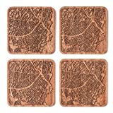 Bogota Map Coaster, Set of 4, Sapele Wooden Coaster with city map, Multiple city optional, Handmade