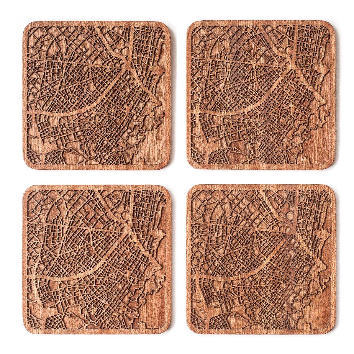Bogota Map Coaster, Set of 4, Sapele Wooden Coaster