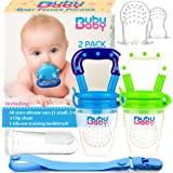Bububaby Baby Feeder Toys with Pacifier Clip Holder/ Silicone Feeding Teether for Fresh and Frozen Fruit or Food, Training Finger Toothbrush and 2 Extra Teats, 2 Pack (Sky Blue & Spring Green)