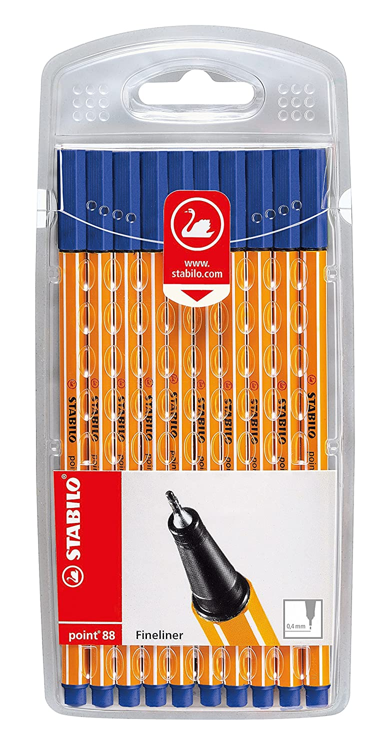 Fineliner – STABILO point 88 – 10 colores 10 Pack (Azul): Amazon ...