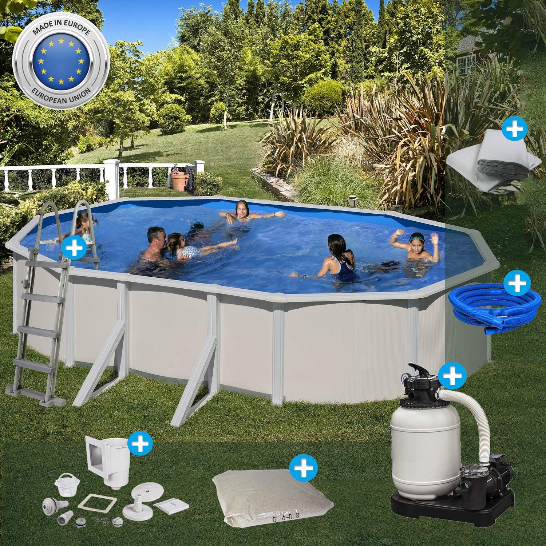 Paradies Pool Gre - Juego Completo de Piscina Ovalada, 375 x 610 x 120 cm (Ancho x Largo x Alto), Lona de Acero Gris, Lona para Piscina en Adriablau, Piscina, pasamanos Ancho, cantidad: 1 Pieza