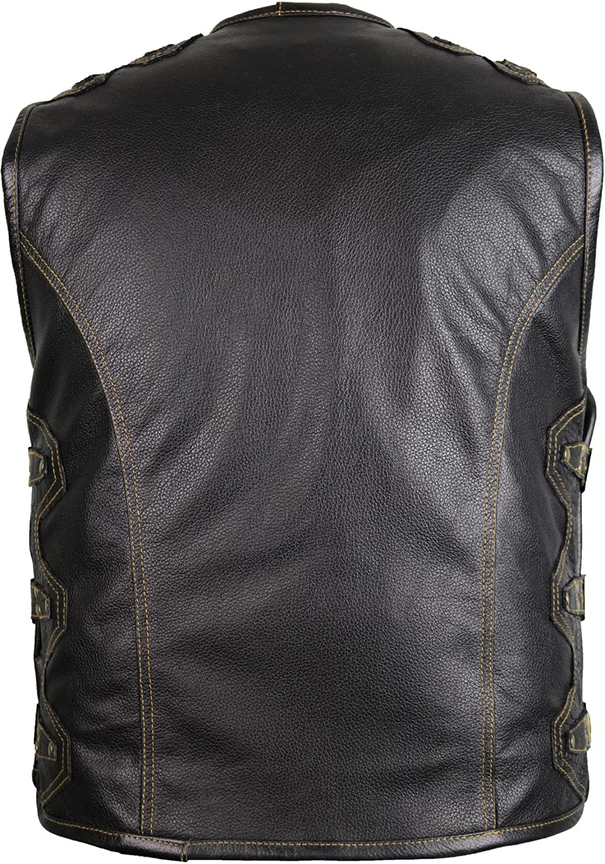 Men/´s Leather Vest Biker Motorcycle Black