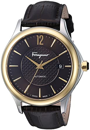 Amazon.com: Salvatore Ferragamo Mens Time Automatic Swiss Quartz Stainless Steel and Leather Casual Watch, Color:Brown (Model: FFT030016): Watches