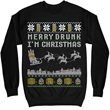 mik apparel funny beer drink merry drunk im christmas ugly sweater shirt noel - Merry Drunk Im Christmas